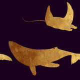 Seamless pattern with golden animals. Royalty Free Stock Photos
