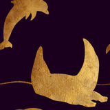 Seamless pattern with golden animals. Stock Images