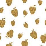 Seamless pattern with golden apples Royalty Free Stock Photo