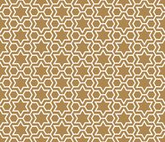 Seamless simple geometric pattern with six-pointed stars and hexagons. Seamless pattern in golden background and white pattern in average thickness lines.The six stock illustration