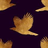 Seamless pattern with golden birds. Stock Photo