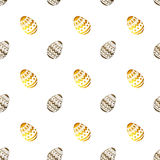 Seamless pattern with golden and black pearly Easter eggs on white background Stock Photography