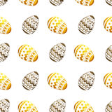Seamless pattern with golden and black pearly Easter eggs on white background Royalty Free Stock Photo