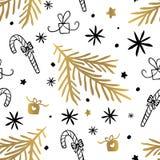 Seamless Pattern Golden Black Whitw Hand Drawn vector illustration