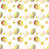 Seamless pattern with golden and blue pearly Easter eggs and little flowers on white background Stock Image