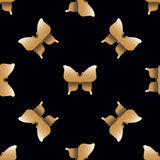 Seamless pattern with golden butterflies Royalty Free Stock Photography