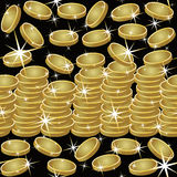 Seamless pattern with golden coins and stars, vector Royalty Free Stock Images