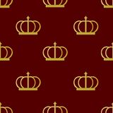 Seamless pattern golden crown emperor Stock Photography