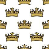 Seamless pattern of golden crowns Stock Photo
