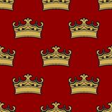 Seamless pattern of golden crowns Royalty Free Stock Photos