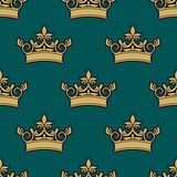 Seamless pattern of a golden crowns Stock Photography