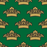 Seamless pattern with golden crowns Stock Photo