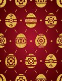 Seamless pattern of golden Easter eggs isolated on red background. Gold Easter Eggs decorated with flowers. Print design, label,. Sticker, scrap booking, vector vector illustration