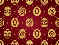 Seamless pattern of golden Easter eggs isolated on red background. Gold Easter Eggs decorated with flowers. Print design, label,. Sticker, scrap booking, vector stock illustration