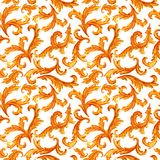 Seamless pattern of golden elements of baroque rococo style isolated on background royalty free illustration