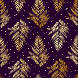 Seamless pattern with golden fern Royalty Free Stock Images