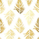 Seamless pattern with golden fern. Leaves Royalty Free Stock Image