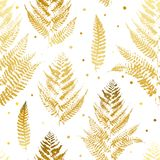 Seamless pattern with golden fern. Leaves Royalty Free Stock Images