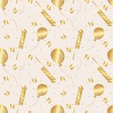 Seamless pattern. Golden flags, balloons, firecrackers and confetti. Vector. royalty free illustration