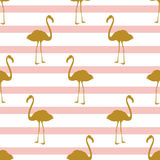 Seamless pattern with golden flamingos. Can be used for textile, wrapping, covering, fabric etc Royalty Free Stock Photo
