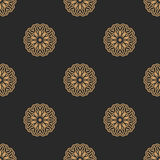 Seamless pattern. Golden Floral Mandala. Stock Photography