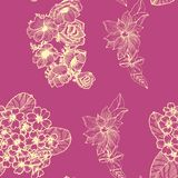 Seamless pattern with golden flowers. Anemona. Primula. Clematis royalty free illustration
