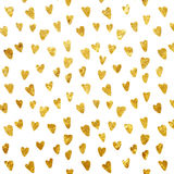 Seamless pattern - Golden foil heart seamless pattern Stock Photo