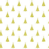 Seamless pattern golden geometric Christmas tree silhouettes royalty free illustration