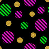 Seamless pattern with golden glitter circles and colored stripes. Circles on a black background. It can be used for printing on fabric, design, wrapping paper vector illustration