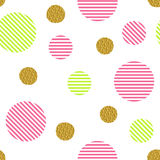 Seamless pattern with golden glitter circles and colored stripes Royalty Free Stock Photos