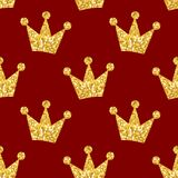 Seamless pattern with crowns. Seamless pattern with golden glittering crowns vector illustration Royalty Free Stock Photo