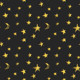 Seamless pattern with golden hand drawn stars and crescent moons. Vector illustration.  Stock Image