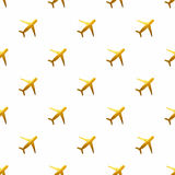Seamless pattern with golden hand-painted airplanes on white background Royalty Free Stock Photography