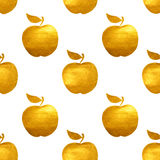 Seamless pattern with golden hand-painted apples on white background Royalty Free Stock Photography