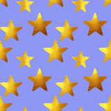 Seamless pattern with golden hand-painted stars on blue background Royalty Free Stock Photo