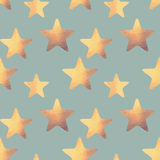 Seamless pattern with golden hand-painted stars in vintage colors Stock Photography