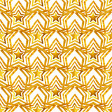 Seamless pattern with golden hand-painted stars on white background Stock Photo