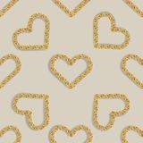Seamless pattern with golden heart chain. Golden Chain Ornament for Fashion Prints royalty free illustration