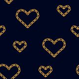 Seamless pattern with golden heart chain. Golden Chain Ornament for Fashion Prints.  stock illustration