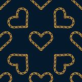 Seamless pattern with golden heart chain. Golden Chain Ornament for Fashion Prints vector illustration