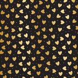 Seamless pattern with golden hearts. And dots, vector illustration Stock Photo