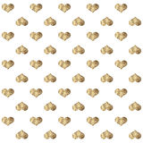 Seamless pattern with golden hearts Stock Photo
