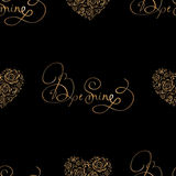 Seamless pattern with golden hearts and lettering Royalty Free Stock Photo