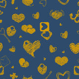 Seamless Pattern with Golden Hearts. St. Valentine's Day or Wedd. Ings Design Element. Doodle Style. Vector background Royalty Free Stock Images