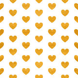 Seamless pattern of golden hearts Stock Image