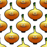Seamless pattern with golden onion vegetable Royalty Free Stock Photo