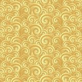 Seamless pattern with golden painted waves stock images