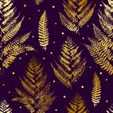 Seamless pattern with golden fern leaves Royalty Free Stock Images