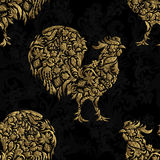 Seamless pattern with golden rooster on black background. 2017 new symbol. Doodle Royalty Free Stock Photos