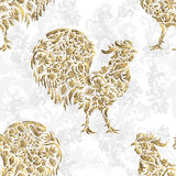Seamless pattern with golden rooster on black background. 2017 new symbol. Stock Photo